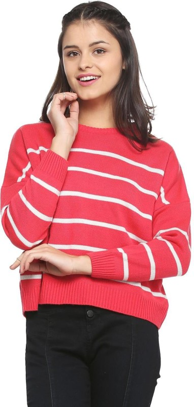 People Striped Round Neck Casual Women Red Sweater