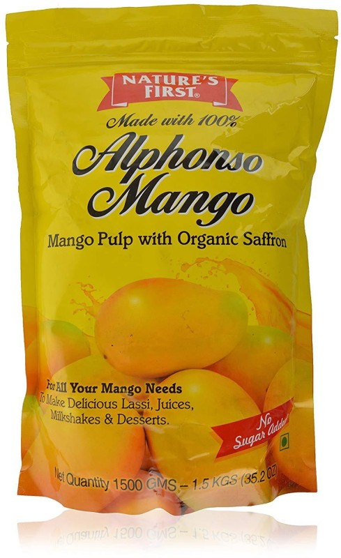 NATURE'S FIRST 100% Alphonso Mango Pulp with No Added Sugar/Preservatives Cut 1.5 kg(1)