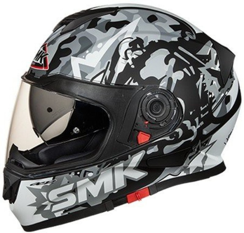 smk MA266 Twister Attack Graphics Pinlock Fitted Full Face Helmet with Clear Visor (Matt Black with Grey Motorbike Helmet(Multicolor)