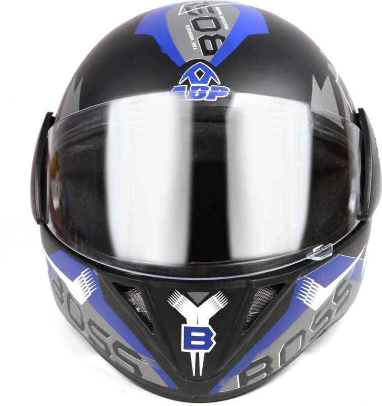 ABP BOSS Full Face Solid Plastic ISI Mark Motorbike Helmet Motorbike Helmet(BLACK BLUE)