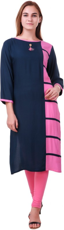 RK Online Shopping Festive & Party Solid Women Kurti(Multicolor)