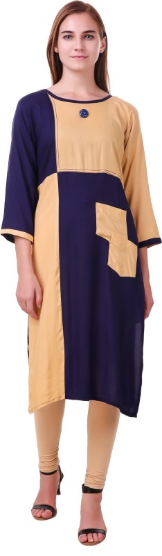 RK Online Shopping Festive & Party Solid Women Kurti(Dark Blue)