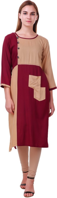 RK Online Shopping Festive & Party Solid Women Kurti(Maroon)