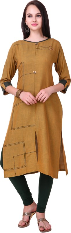 RK Online Shopping Festive & Party Solid Women Kurti(Beige)