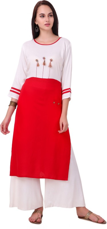 RK Online Shopping Festive & Party Solid Women Kurti(White)
