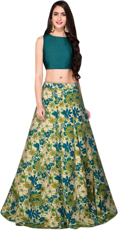 Nij creation Printed Semi Stitched Lehenga Choli(Green)