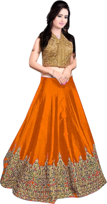 Ashwi Creation Embroidered Lehenga Choli(Orange)