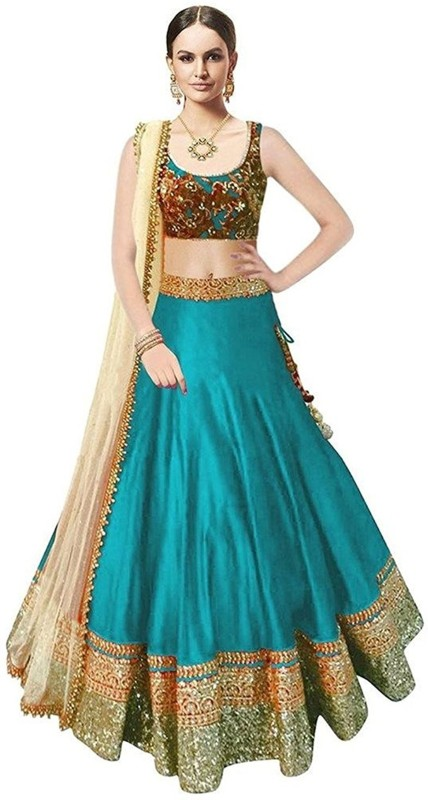 Ashwi Creation Embroidered Lehenga Choli(Light Blue)