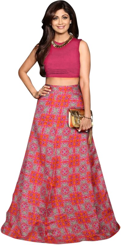 JK Creation Floral Print Semi Stitched Lehenga Choli(Pink)