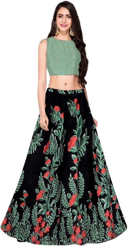 Arth Creation Floral Print Semi Stitched Lehenga Choli(Black)