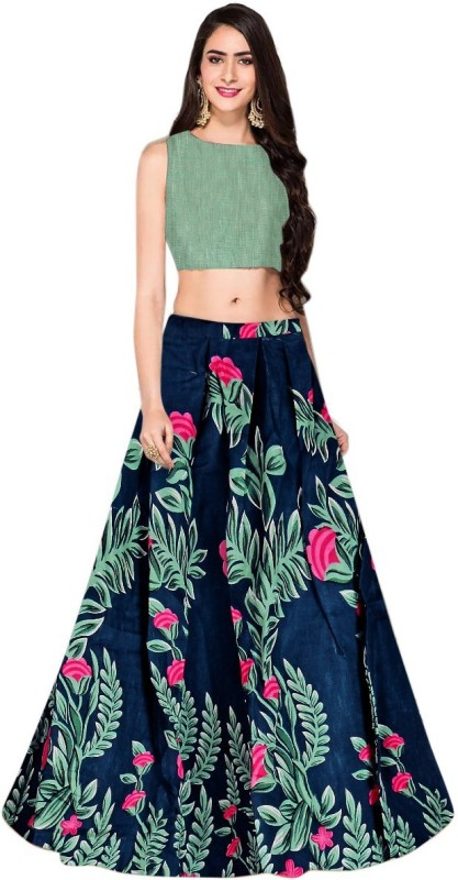 Nij creation Printed Semi Stitched Lehenga Choli(Blue)