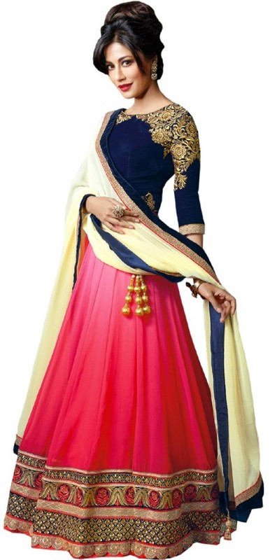Ashwi Creation Embroidered Lehenga Choli(Pink)
