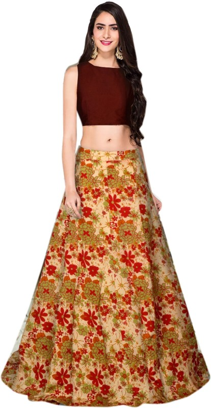 Arth Creation Floral Print Semi Stitched Lehenga Choli(Maroon)