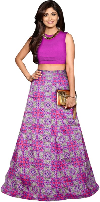 Arth Creation Floral Print Semi Stitched Lehenga Choli(Purple)