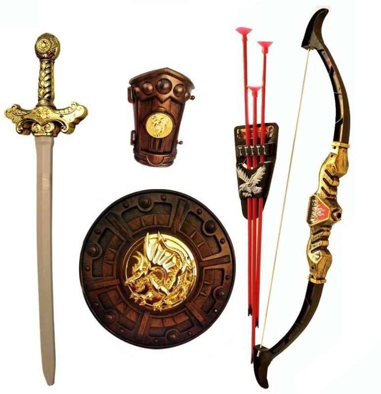 IndusBay Bahubali Sword and Archery Set - Knights warrior set Fancy Dress Kids Cosplay - King's Sword, Sheild, hand Armor , Bow & 3 Arrows