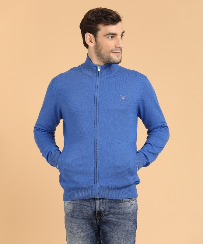 Gant Solid Round Neck Casual Mens Blue Sweater