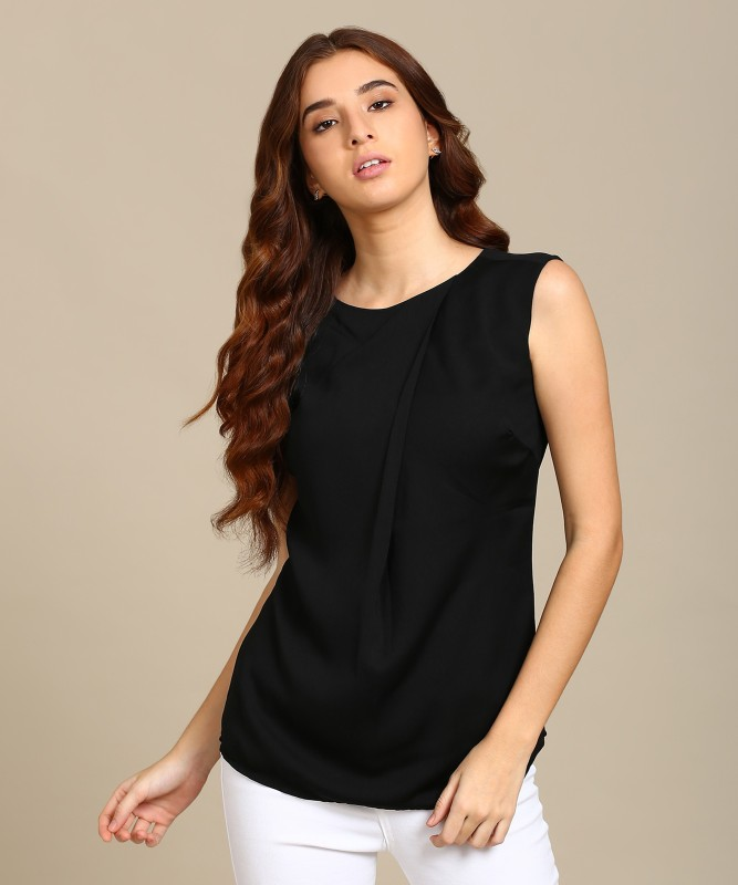 Park Avenue Casual Sleeveless Solid Women's Black Top