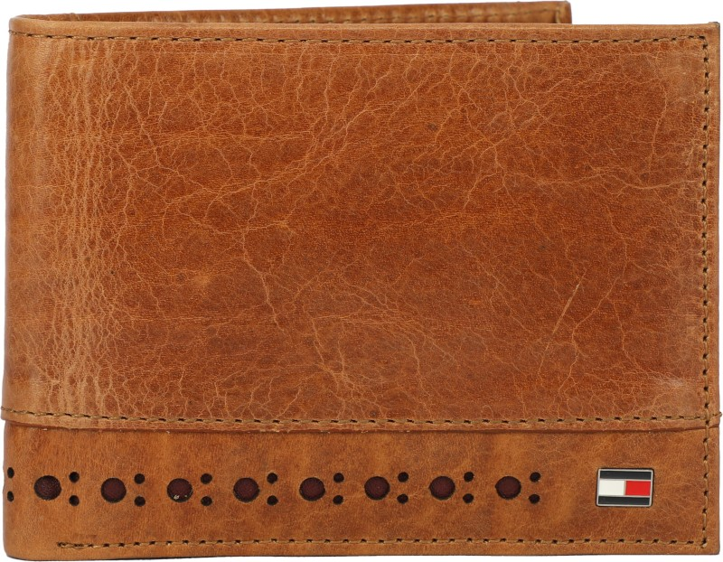 Tommy Hilfiger Men Tan Genuine Leather Wallet(10 Card Slots)