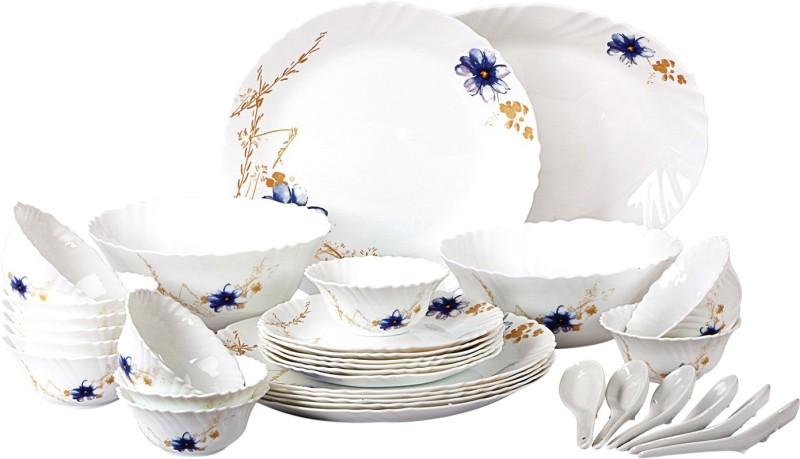 Cello present IMPERIAL Pot pourri Dinner Set of 33 pcs {{Dinner plate 11(6 pcs) || Quarter plate (6 pcs) || Oval platter (1 Pcs) || Veg bowl (6 Pcs) || Soup Bowl (6 pcs) || Spoon (6 pcs) || Serving bowl medium (2 Pcs)}} Pack of 33 Dinner Set(Opalware)