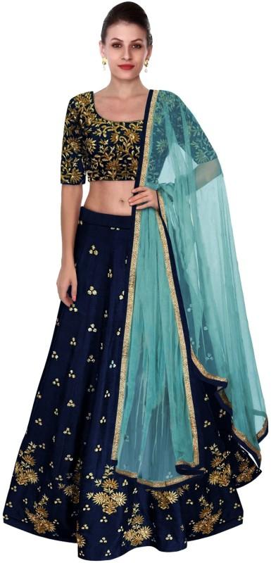 e060a3660a9 Shree Impex Embroidered Semi Stitched Lehenga, Choli and Dupatta Set(Dark  Blue)