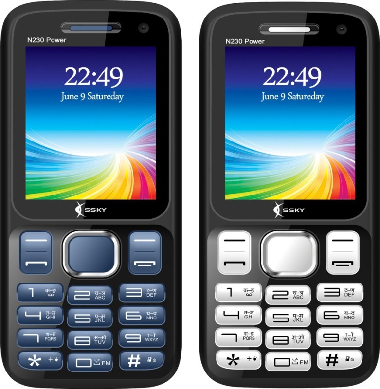 Ssky N230 Power Combo of Two Mobiles(Blue&Black, Black&Silver)