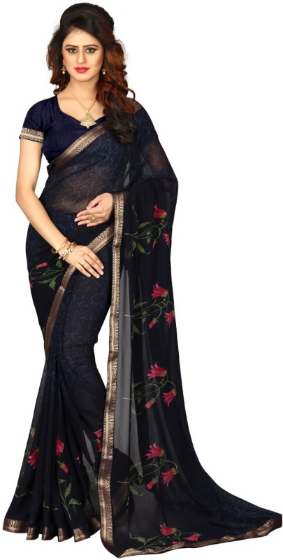 Shoppershopee Floral Print Bandhej Georgette, Silk Blend Saree(Black)