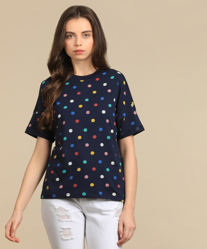 Levis Printed Womens Round Neck Dark Blue T-Shirt