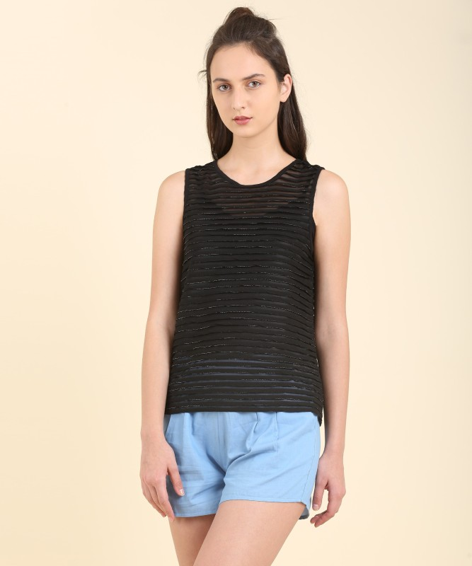 Flying Machine Casual Sleeveless Striped Women's Black Top