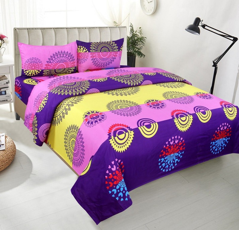 BSB Trendz 144 TC Polycotton Double Polka Bedsheet(Pack of 1, Pink)