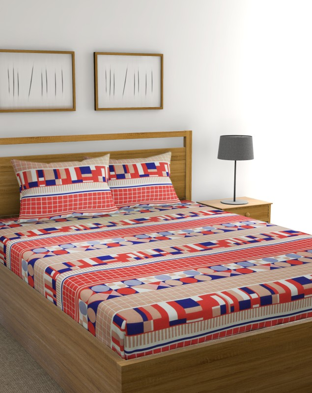 Raymond Home 104 TC Cotton Double Geometric Bedsheet(Pack of 1, Red)