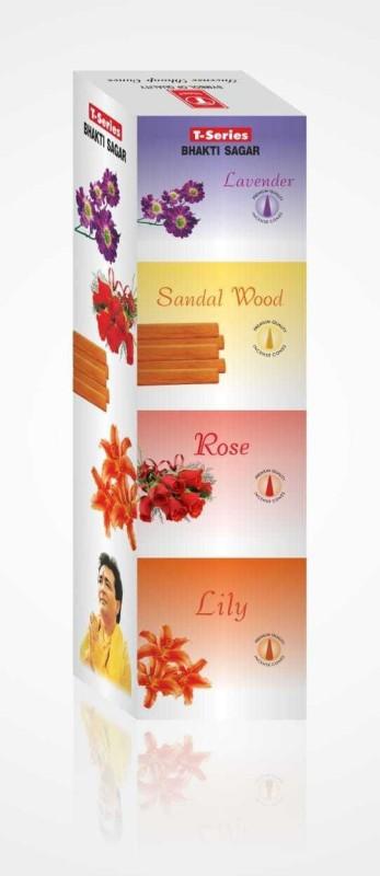 T series Bhakti Sagar Lily, Lavender, Sandal, Rose Dhoop Cone(Pack of 12)