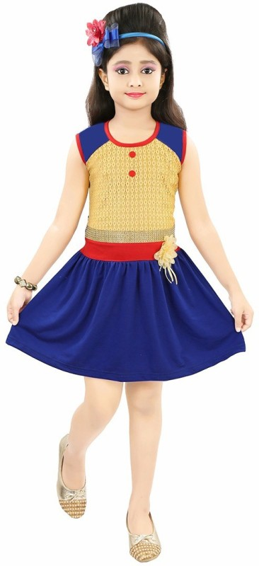 NIKUNJ Girls Midi/Knee Length Casual Dress(Blue, Sleeveless)