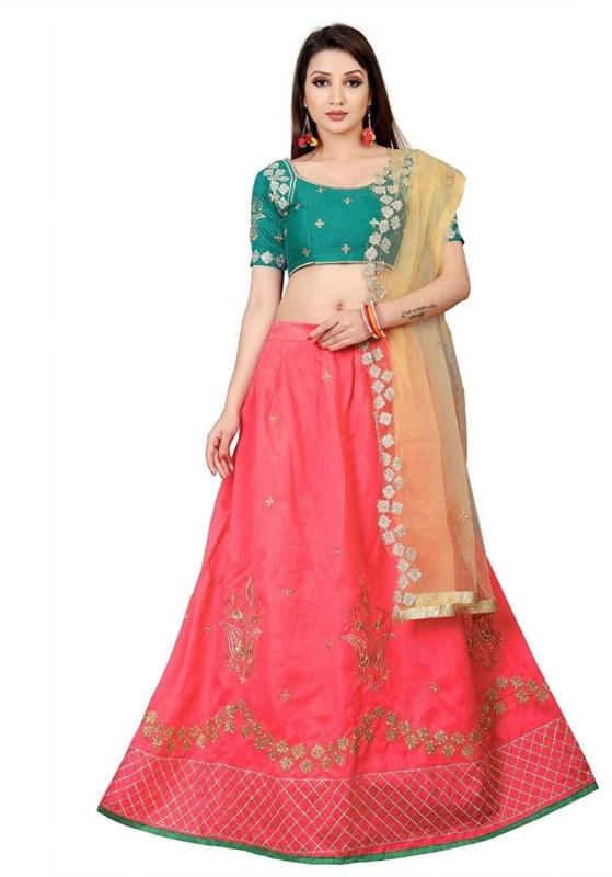 Samvath Fashion Embroidered Lehenga Choli(Pink)