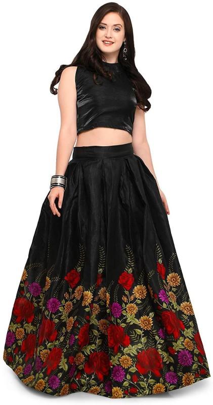 SKG Fashion Printed Lehenga Choli(Black)