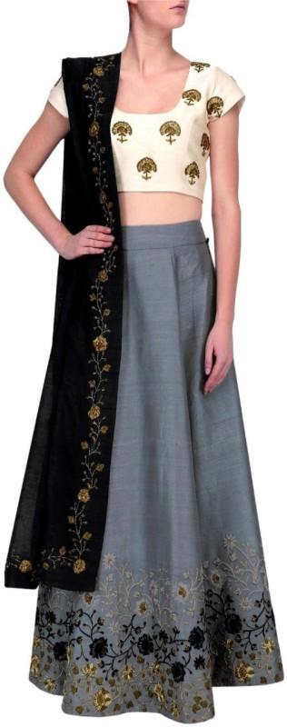 SKG Fashion Embroidered Lehenga Choli(Grey)