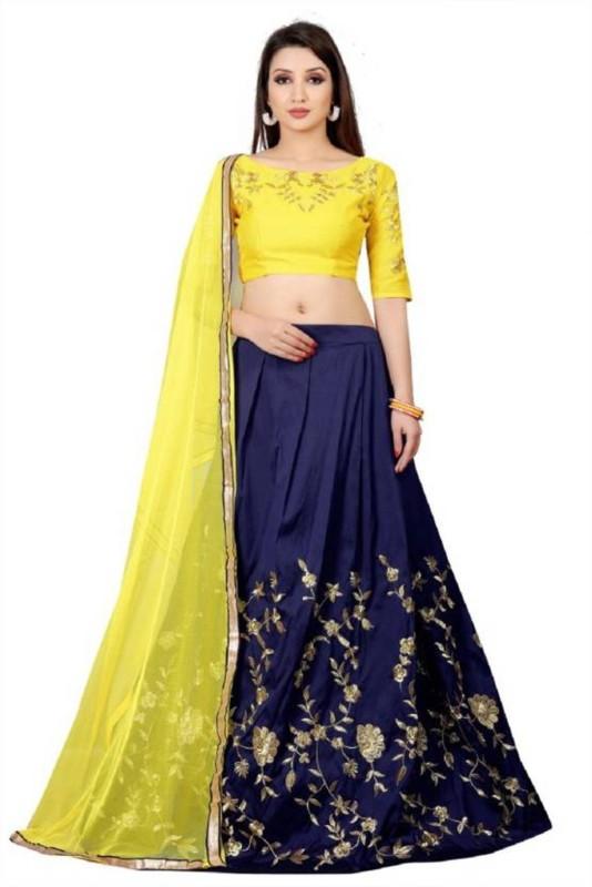SKG Fashion Embroidered Lehenga Choli(Blue)