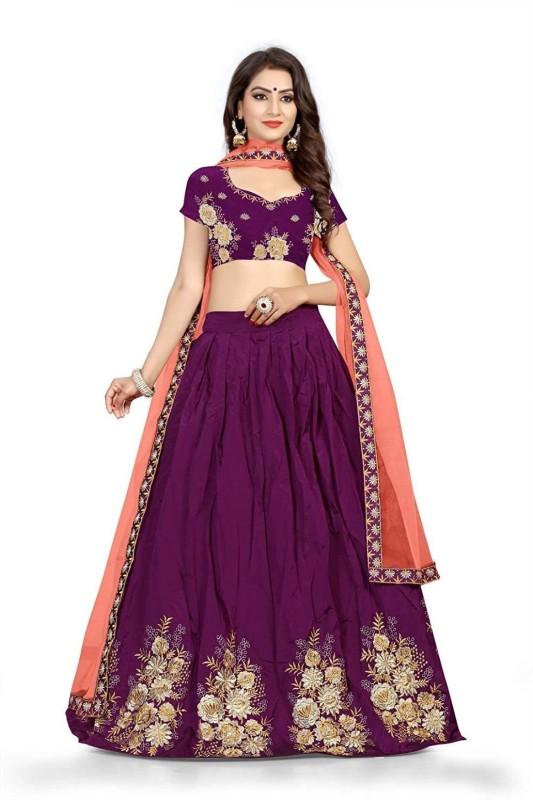 Samvath Fashion Embroidered Lehenga Choli(Purple)