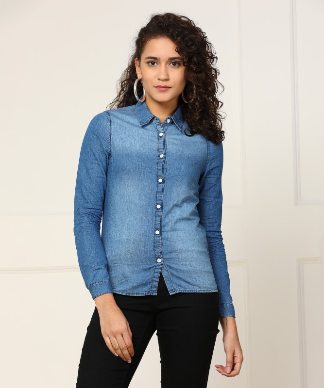 Wrangler Women Solid Casual Blue Shirt