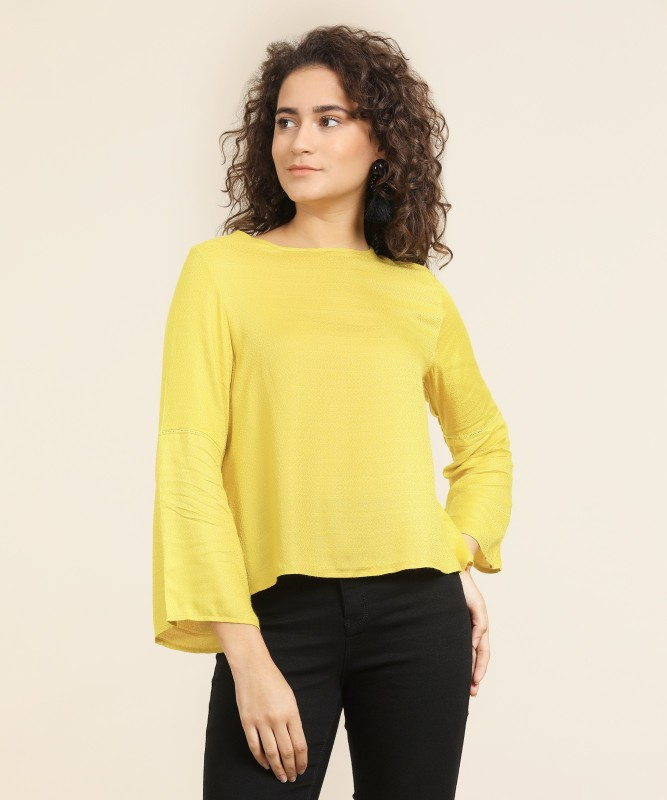 Pepe Jeans Casual Bell Sleeve Self Design Women's Yellow Top