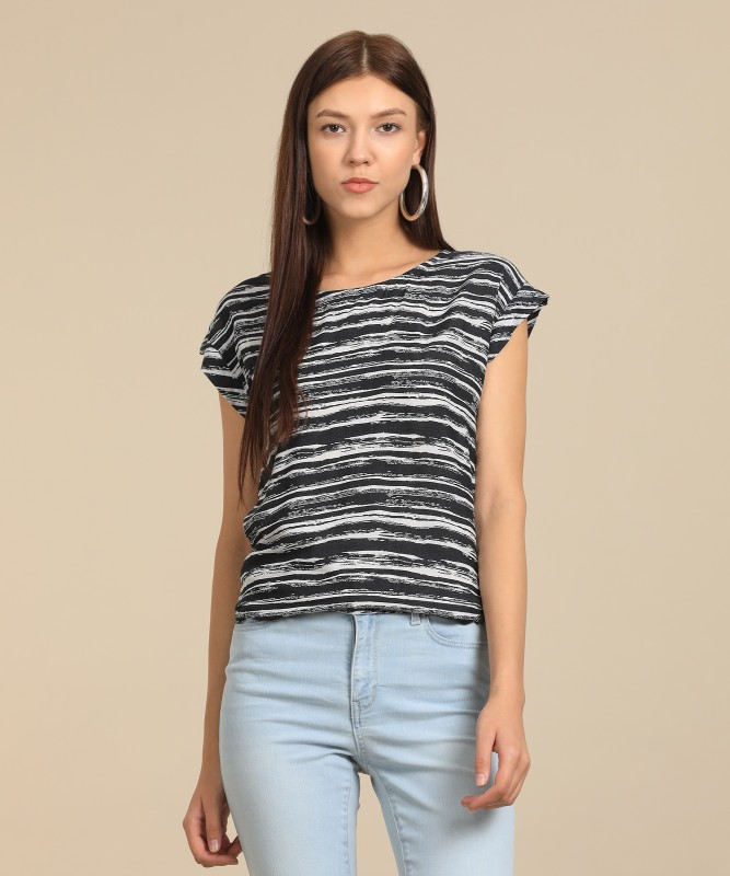 Wrangler Casual Cap Sleeve Striped Women Black Top