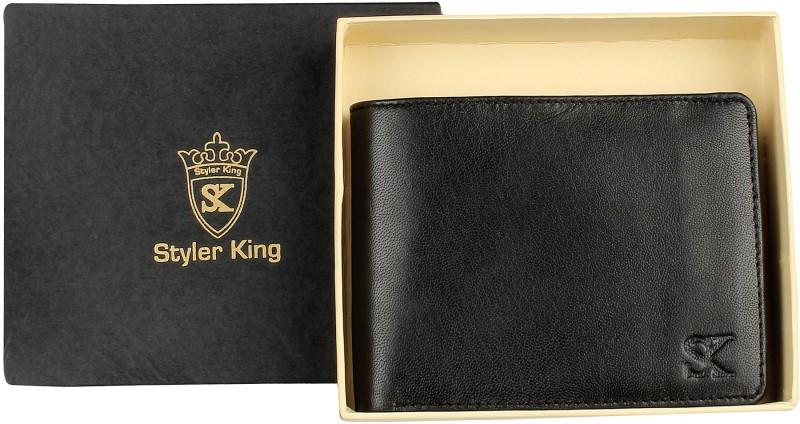 Styler King Men Black Genuine Leather Wallet(9 Card Slots)