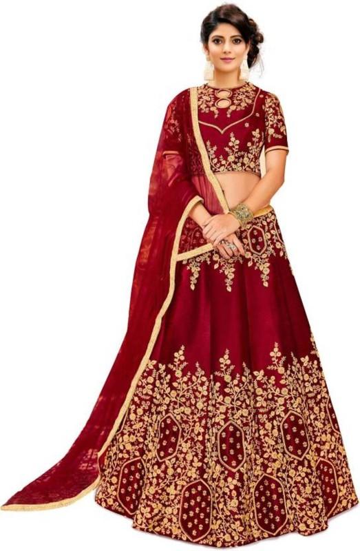 SKG Fashion Embroidered Lehenga Choli(Red)
