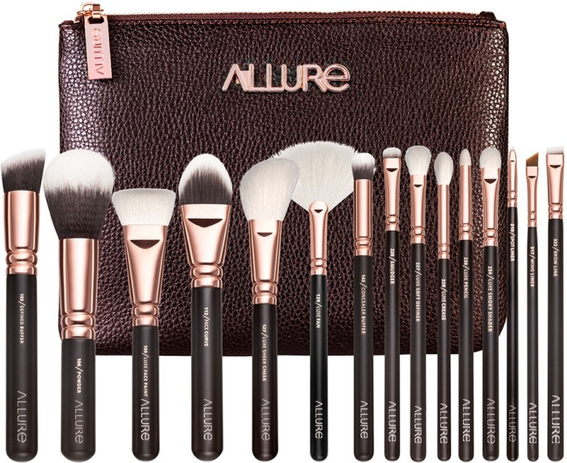 Allure Professional Makeup Brushes for Face and Eyes (Set of 15) # Rose Gold - (RGK-15) with Premium cover(Pack of 15)