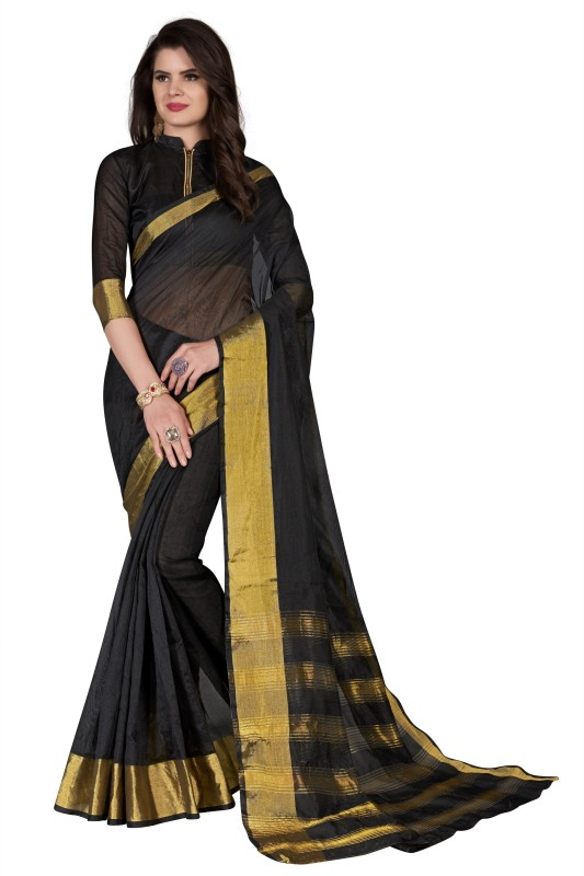 BAPS Solid Bollywood Cotton Silk Saree(Black)