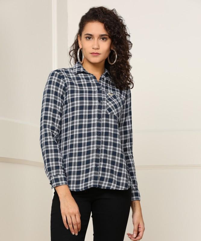 Wrangler Women Checkered Casual Spread Shirt