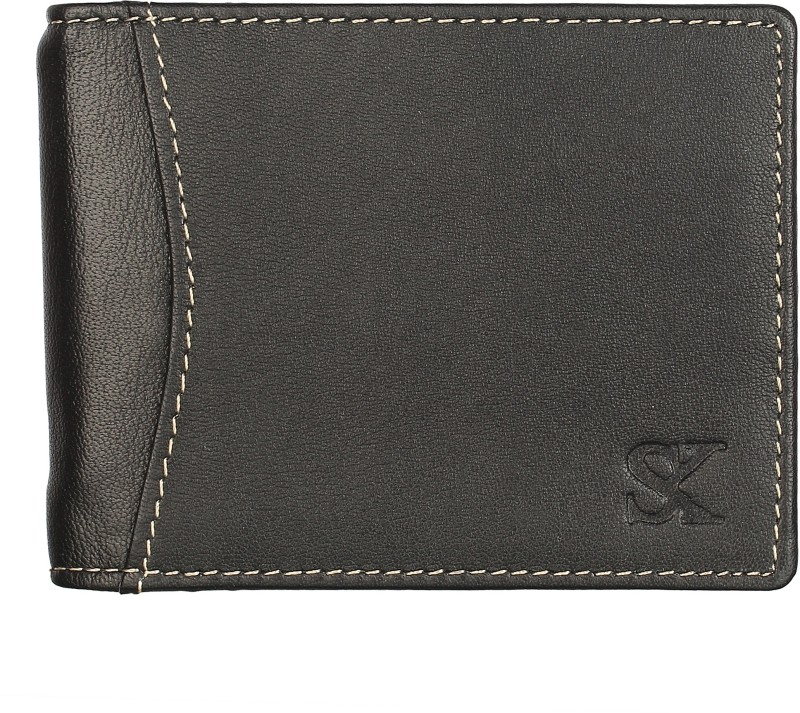 Styler King Men Black Genuine Leather Money Clip(7 Card Slots)