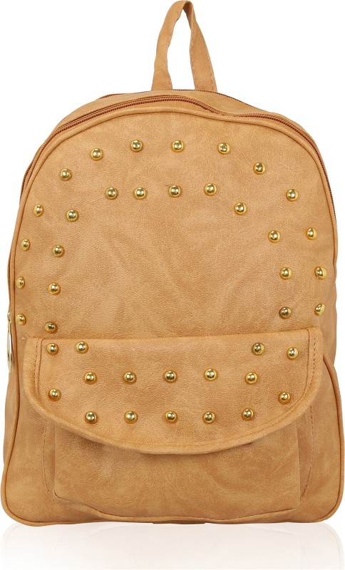 Kleio Designer Studded Casual Backpack with a Flap Pocket for College Girls 7 L Backpack(Beige)