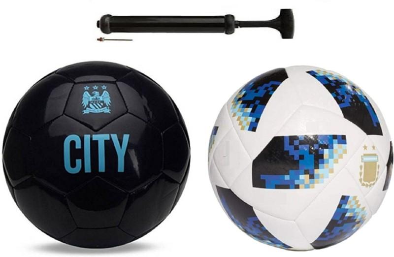 Unik City ViceBlack + startel Blue Football Combo With Durable Air Pump Football Kit