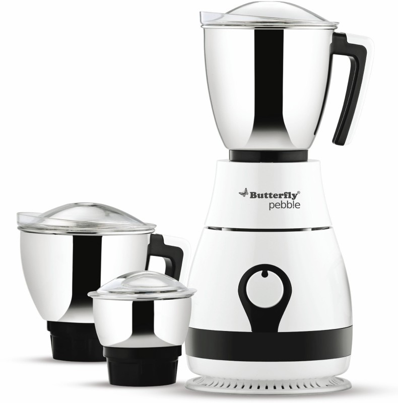 Butterfly Present Pebble plus 750 W with Stylish & Shockproof ABS body, 3 Stainless steel Jars and 3-speed control knob with whip 750 Juicer Mixer Grinder(White, 3 Jars)