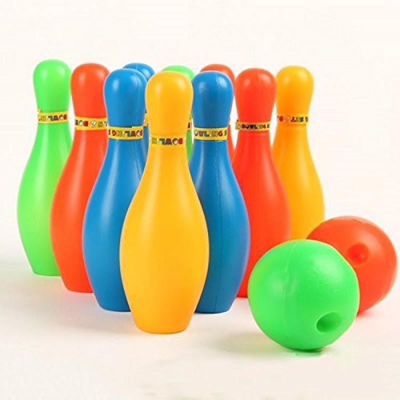 HAWK Bowling Game Set ( 10 Bottles & 2 Balls ) Multi colour Sports Bowling Set